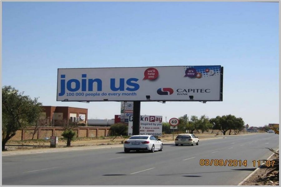 Nelson Mandela Drive (N18), situated outside the Mmabatho Palms Resort and Casino.